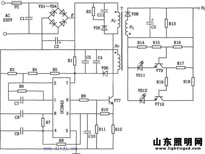 电路采用uc3842集成电路制作的开关电源电路,具有效率高,市电电压范围