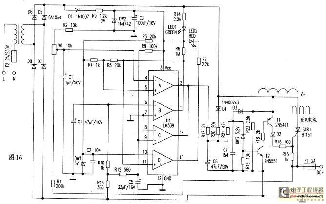 给控制电路供电;上边充电绕组有个抽头,供36v电瓶充电使用.